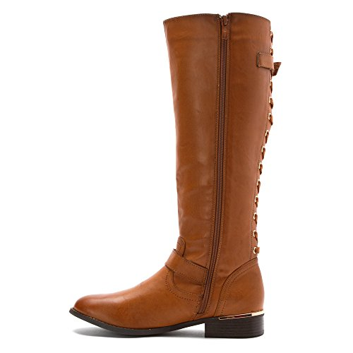 Wanted Tan Up Riding Women's Lounge Boot Shoes Tall Zip Corseted vrv7P