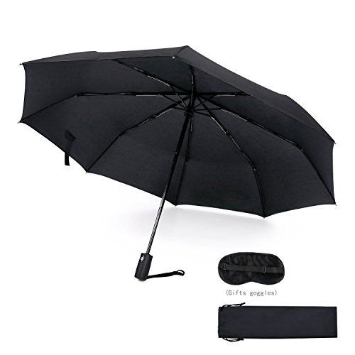 45 Inch Automatic Open Windproof Waterproof 8 Ribs Umbrella Super Strong Travel Fast Drying Teflon Canopy Umbrella(Black) BY FUELUS