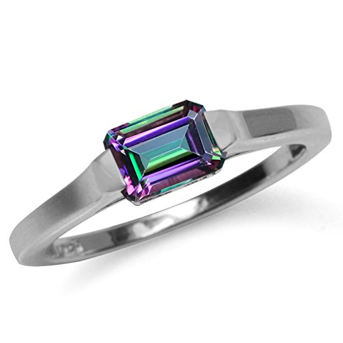 925 Sterling Silver Solitaire - 1.26ct. Mystic Fire Topaz 925 Sterling Silver Solitaire Ring Size 9