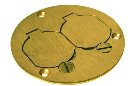 Hubbell-Raco 6249 3-7/8-Inch Round Floor Box Duplex Brass Cover with Lift Lids