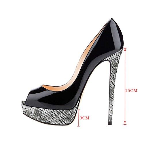 MERUMOTE - Zapatos de Plataforma mujer Black-Wood