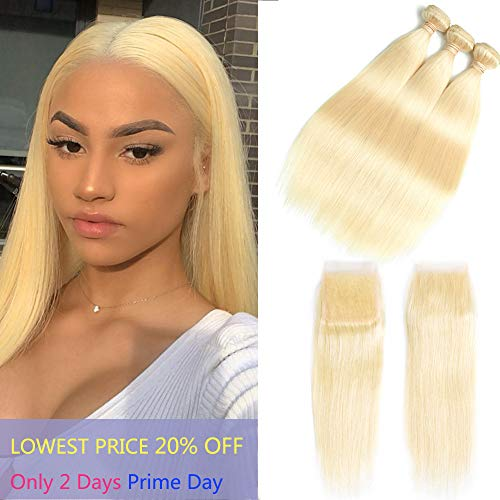 613 Blonde Bundles With Closure 613 Platinum Blonde Human Hair 3 Bundles With Transparent Color Lace Closure 4x4 Brazlian Straight Remy Hair Extension Can Be Dyed (121212+10inch, bundles with closure)