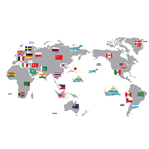 World map flag amazon fangeplustm diy removable map of world with national flags art mural vinyl waterproof wall stickers kids room decor nursery decal sticker wallpaper gumiabroncs Image collections