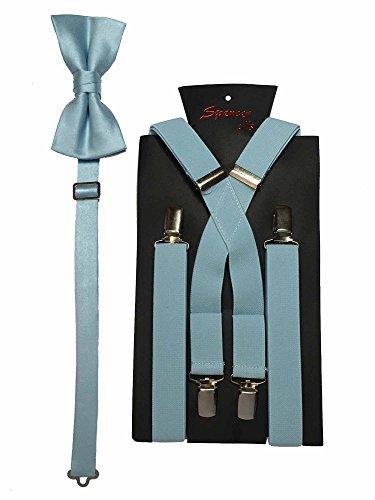 Spencer J's Men's X Back Suspenders & Bowtie Set Verity of Colors (Light Blue)