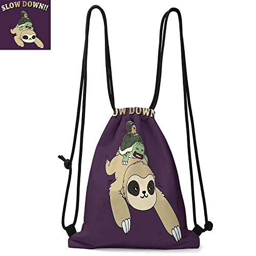 Sloth Printed drawstring backpack Funny Cartoon Scenery with Sloth Turtle Snail on Top of Each Other Slow Down Phrase Suitable for school or travel W17.3 x L13.4 Inch Multicolor]()