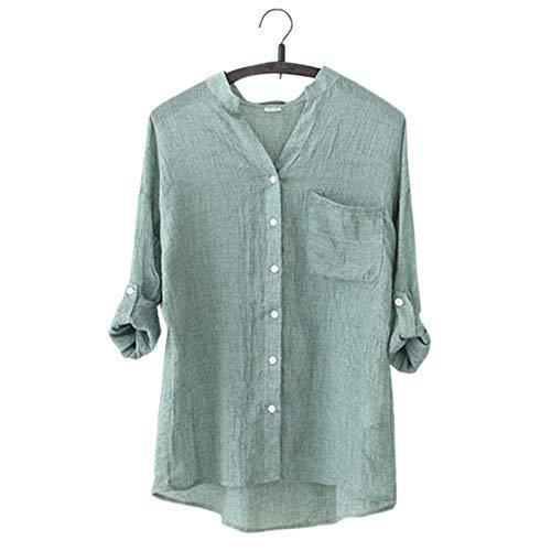 Edtara Camisa de Lino para Mujer, Camisa de Moda con Cuello Alto y Blusas de Lino Novedad de 2018