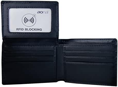 Aonal RFID Blocking Leather Bifold Wallet for Men