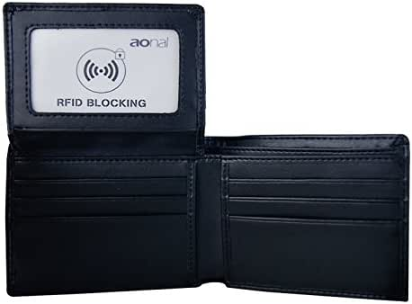 RFID Blocking Leather Wallet for Men - Excellent Travel Bifold - Credit Card Protector
