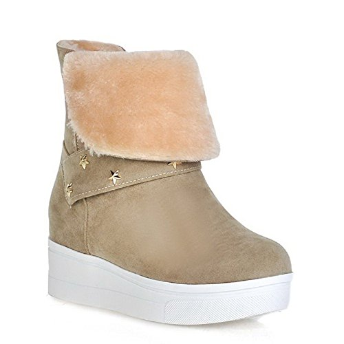 AmoonyFashion Womens Solid Frosted Kitten Heels Pull On Closed Round Toe Boots Beige i7wUb