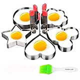 Fried Egg Mold Ring, Cofe-BY Stainless Steel Egg Cooking Cutter Shapes Set Of 5pcs for Frying Cooking, Sandwiches Cookie Fruit Shapes Cutter set