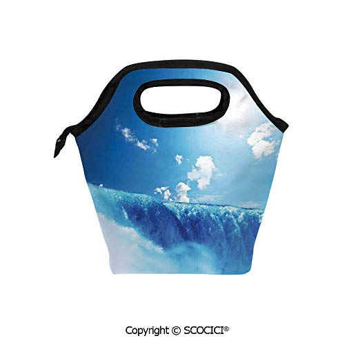 Insulation portable lunch box bag Niagara Falls and Clear Sky Landscape Image Majestic River Nature Theme Artistic Print Soft Fabric lunch bag Mummy bag. ()