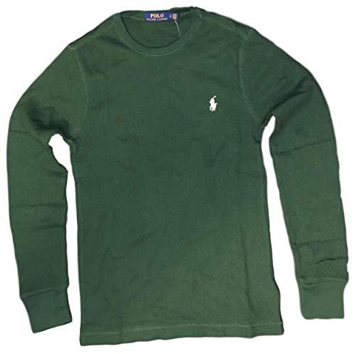 Polo Ralph Lauren Mens Long Sleeve Waffle Knit Crewneck, New Pin Green , Medium