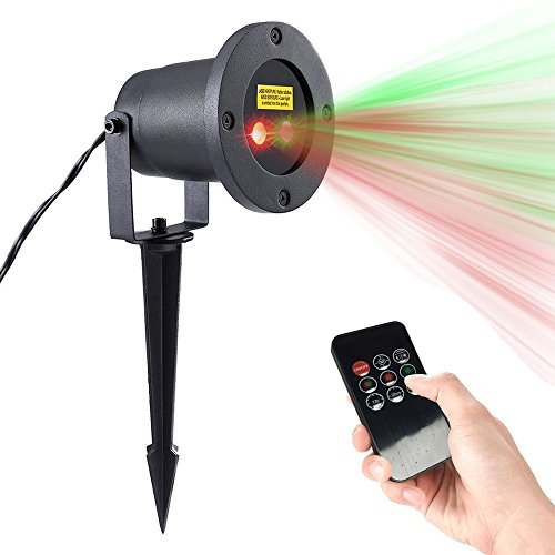 Triangle Bulbs Motion Remote Control Outdoor Waterproof Red and Green Sparkling Landscape Projector Laser Light,...