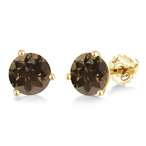 (Gem Stone King 1.60 Ct Round 6mm Brown Smoky Quartz 14K Yellow Gold Martini Setting Stud Earrings)