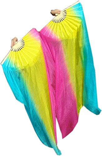 Winged Sirenny 1Pair 1.1mx0.8m Children Size Belly Dance Silk Fan Veil (long stripes (Dance Worship Costumes)