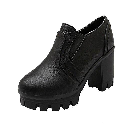 Latasa Kvinna Mode Plattform Blockera Hög Klack Slip På Loafers Skor Svart