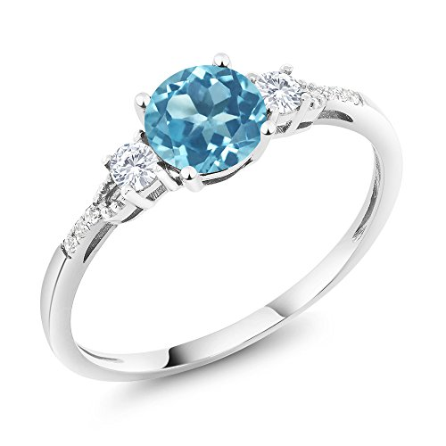 10K White Gold Diamond Accent Three-stone Engagement Ring set with Swiss Blue Topaz White Created Sapphire (1.05 cttw, Available in size 5, 6, 7, 8, 9) 3 Diamonds Engagement Ring