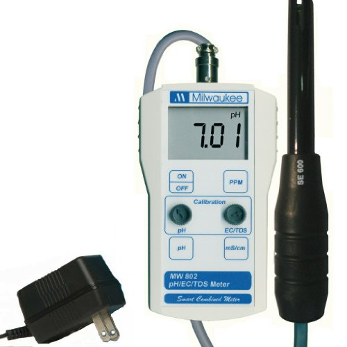 Milwaukee BEM802 Combination pH/EC/TDS Meter with 110V Power and Mounting Kit, 0.00 to 14.00 pH, +/-0.20 pH Accuracy