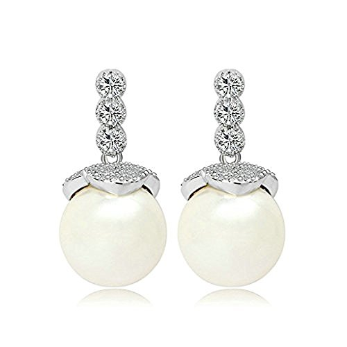 Moon Moon White Gold Plating Stud Earrings For Women White AAA Cubic Ziconia 3-Prong Oval Blossom Dangle - Blossom Dangle