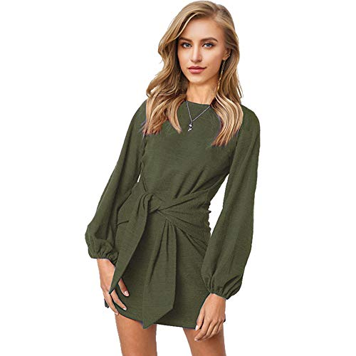 Longwu Women's Loose Casual Front Tie Long Sleeve Bandage Party Dress Green-M ()