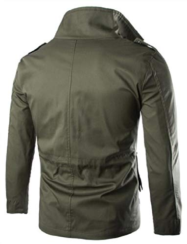 Jackets Stand Military Windbreaker Cargo Green Men's Bomber Coat Collar Jacket Gocgt Army xYqg8nOw