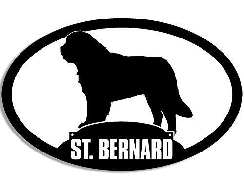 MAGNET Oval ST BERNARD Silhouette Magnetic Sticker (dog saint big breed)