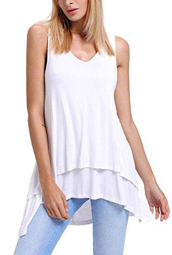 JQLampe Estivo Donna Lungo Canotte Scollo V Senza Maniche Tops Tinta Unita Irregolare Lato Foglia di Loto Vest T-Shirt Bluse Tunica Bianca