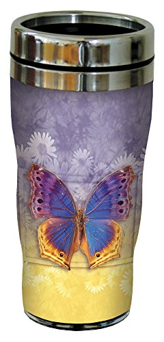 Tree-Free Greetings Vibrant Butterfly #3 Travel Mug, Stainless Lined Coffee Tumbler, 16-Ounce - Gift for Nature Lovers - Tree-Free Greetings 25505