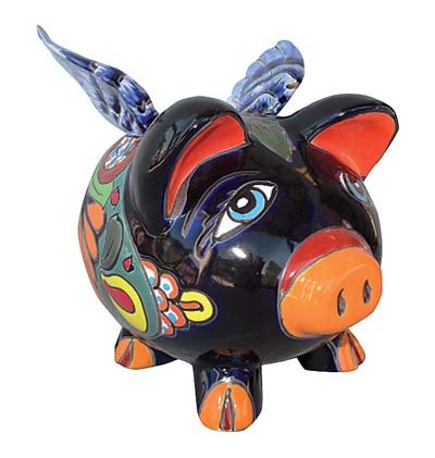 (Talavera Pottery Flying Pig Bank)