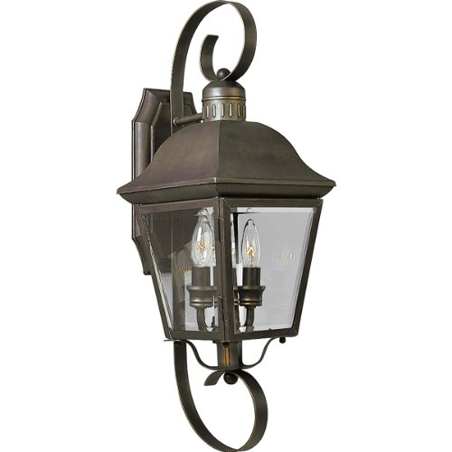 Progress Lighting P5688-20 2-Light Andover Medium Wall Lantern with Solid Brass Construction, Antique Bronze - Progress Lighting Bronze Outdoor Lantern