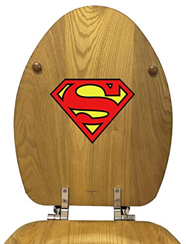 - Elongated Oak Wood Toilet Seat Featuring The Choice of Your Favorite Novelty Themed Logo on The Underside of The Toilet Seat! (Superman Logo)