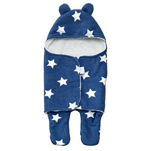 Newborn Baby Wrap Swaddle Blanket, Bear Ear Hooded Stroller Wrap, Fleece Sleeping Bag, Velcro Sleep Sack for 0-6 Month Infants, Blue w/Stars by MAMUSH (Baby Stroller For Newborn)