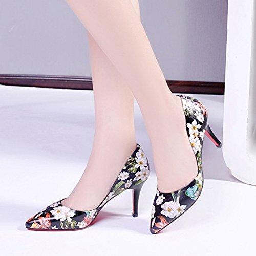 Heels Meijia Pointed Schuhe New Toe Pointy Stiletto Leder Pumps Damen Schwarz Damen Blumen D'Orsay AAPr7Z