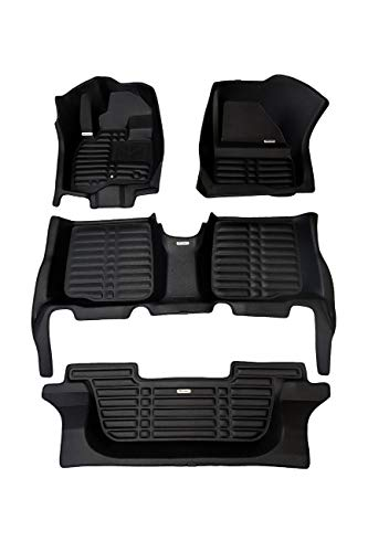 TuxMat Custom Car Floor Mats for Kia Telluride 8-Seater 2020 Model - Laser Measured, Largest Coverage, Waterproof, All Weather. The Best Kia Telluride Accessory (Full Set - Black) ()