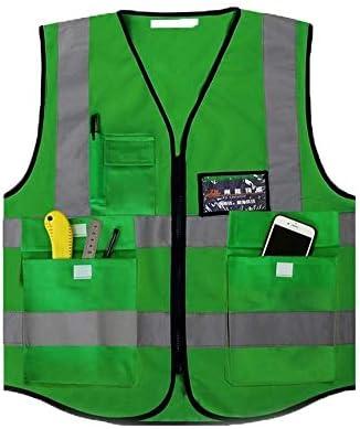 Vivb Chaleco Reflectante Multibolsillos Ropa Protectora de Seguridad for Correr/Andar en Bicicleta/Caminar (Color : Fluorescent Yellow): Amazon.es: Deportes y aire libre