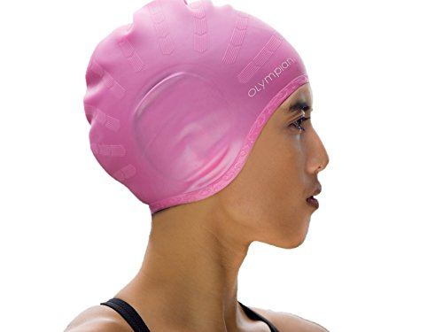 BEST SWIM CAP FOR WOMEN WITH LONG HAIR, Cool Olympian Swimming Caps Designed for Deluxe Comfort, Made with Premium Silicone to Keep Girl's Hair Dry, Waterproof Colors are Black, Blue, & Pink!