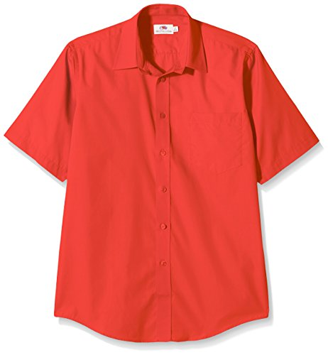 The Uomo Fruit Of Loom Poplin Camicia Red 5w4SqAX