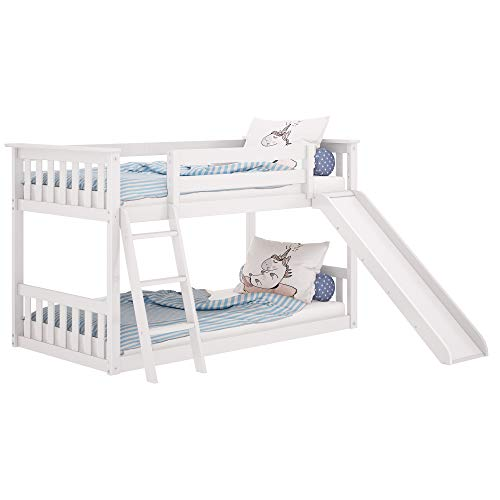 Max & Lily Solid Wood Twin Low Bunk Bed with Slide, White (White Bunk Beds With Stairs And Trundle)