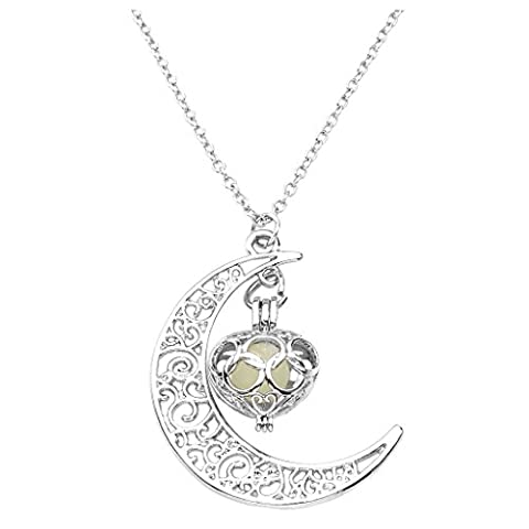 JOVIVI Luminous Series Moon Love Heart Pendant Necklace Fluorescent Necklace,Glow in the Dark (Magical Crescent Moon Necklace)