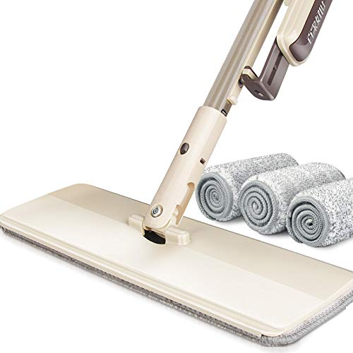 Elohas Self Wringing Mop Floor Cleaning System - Washable Pads Perfect Cleaner for Hardwood, Laminate & Tile - 360 Dry Wet Reusable Dust Mops with Soft Refill Pads & Handle for Wood, Walls, Vinyl