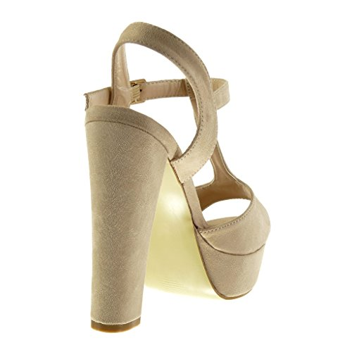 Angkorly - Zapatillas de Moda Sandalias correa Peep-Toe zapatillas de plataforma mujer Hebilla Talón Tacón ancho alto 13 CM - Beige