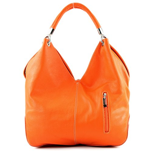 cuero para Naranja hombro al Made de Italy Bolso mujer FpXXR