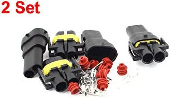 uxcell 2 Pin Way Car Automobile HID Waterproof Connector Socket 2 Sets