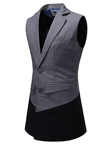 NEARKIN (NKNKLV601) Mens 2 Tone layered Long Waist Slim Fit Lapelled Vest GRAY US L(Tag size L)
