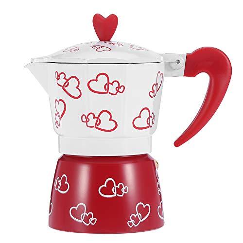 Raguso Cafetera roja Cafetera de café expreso Duradera de Aluminio Moka Pot con patrón de corazón Que se Puede Usar en…