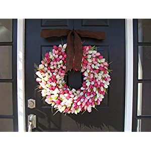 Elegant Holidays Handmade Pink/White Silk Tulip Wreath w/Bow- Decorative Home Décor for Indoor/Outdoor- Welcome Guests in Spring, Summer Front Door Wreaths- Mother's Day Holiday Accent 16-26 inch 3