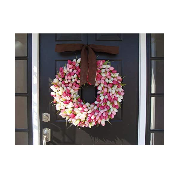 Elegant Holidays Handmade Pink/White Silk Tulip Wreath w/Bow- Decorative Home Décor for Indoor/Outdoor- Welcome Guests in Spring, Summer Front Door Wreaths- Mother's Day Holiday Accent 16-26 inch