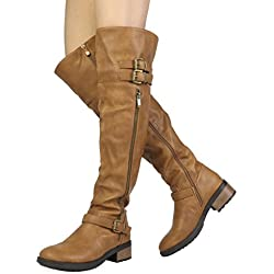 DREAM PAIRS Women's Argentina Camel-pu Over The Knee Riding Boots Size 10 M US
