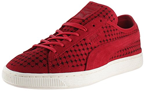 Puma Suede Courtside da tennis delle scarpe da tennis perforate Red