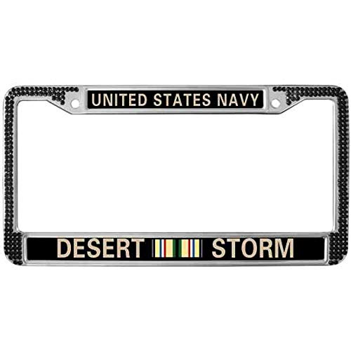 Kingchoo Automotive License Plate Frame Waterproof Stainless Steel License Plate Tag Frame with Screws Caps United States Navy Desert Storm Black Bling Crystal License Plate Chrome Frame ()